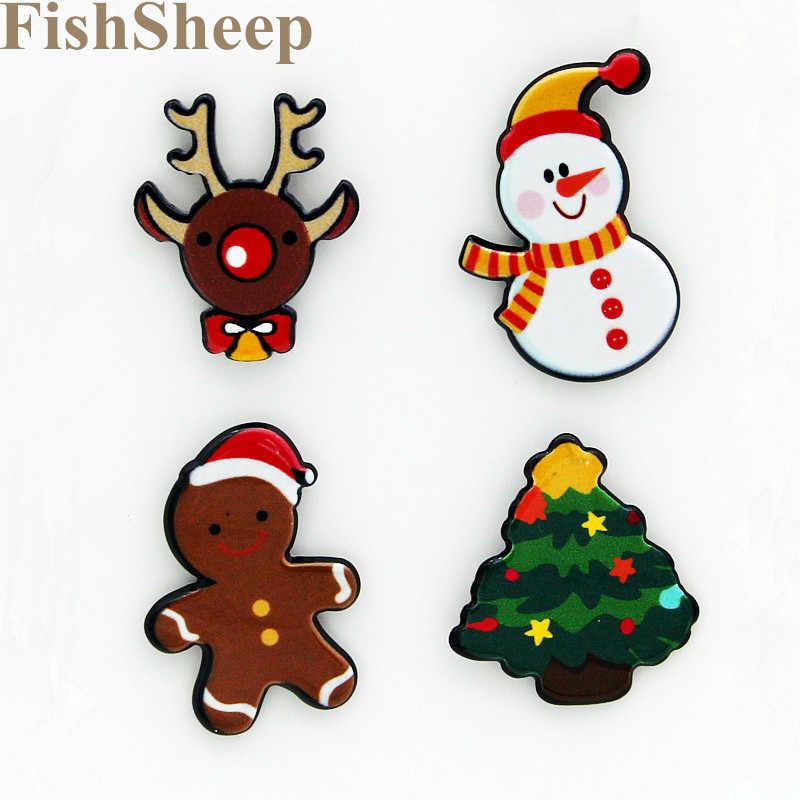 FishSheep 4ลูก/เซ็ตเมอร์รี่คริสต์มาสหิมะเข็มกลัดอะคริลิPinsและเข็มกลัดสำหรับผู้หญิงเด็กของขวัญปีใหม่อุปกรณ์ตกแต่ง