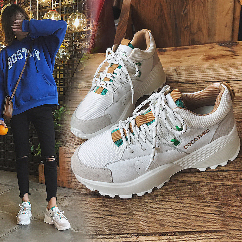 7a4b8fa9672a Dad Korean Women s 2018 Shoes Bottom Chalaza Thick Sneakers ALEX New Fashion  Edition Spring Shoe Pattern ...