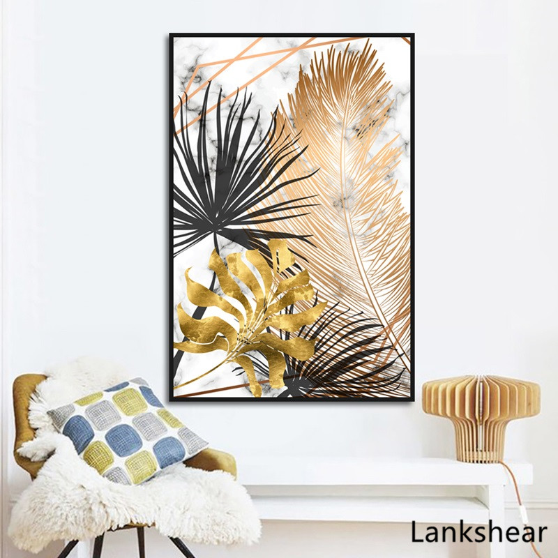 HTB1kLclXrH1gK0jSZFwq6A7aXXaX Scandinavian Style Poster Marble Golden Leaf Art Plant Abstract Painting Living Room Decoration Pictures Nordic Decoration
