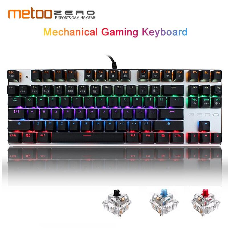 Metoo Original Genuine Mechanical Keyboard 87/104 Keys Red Blue Switch Wired Gaming Keyboard LED Light  Russian/English Keyboard