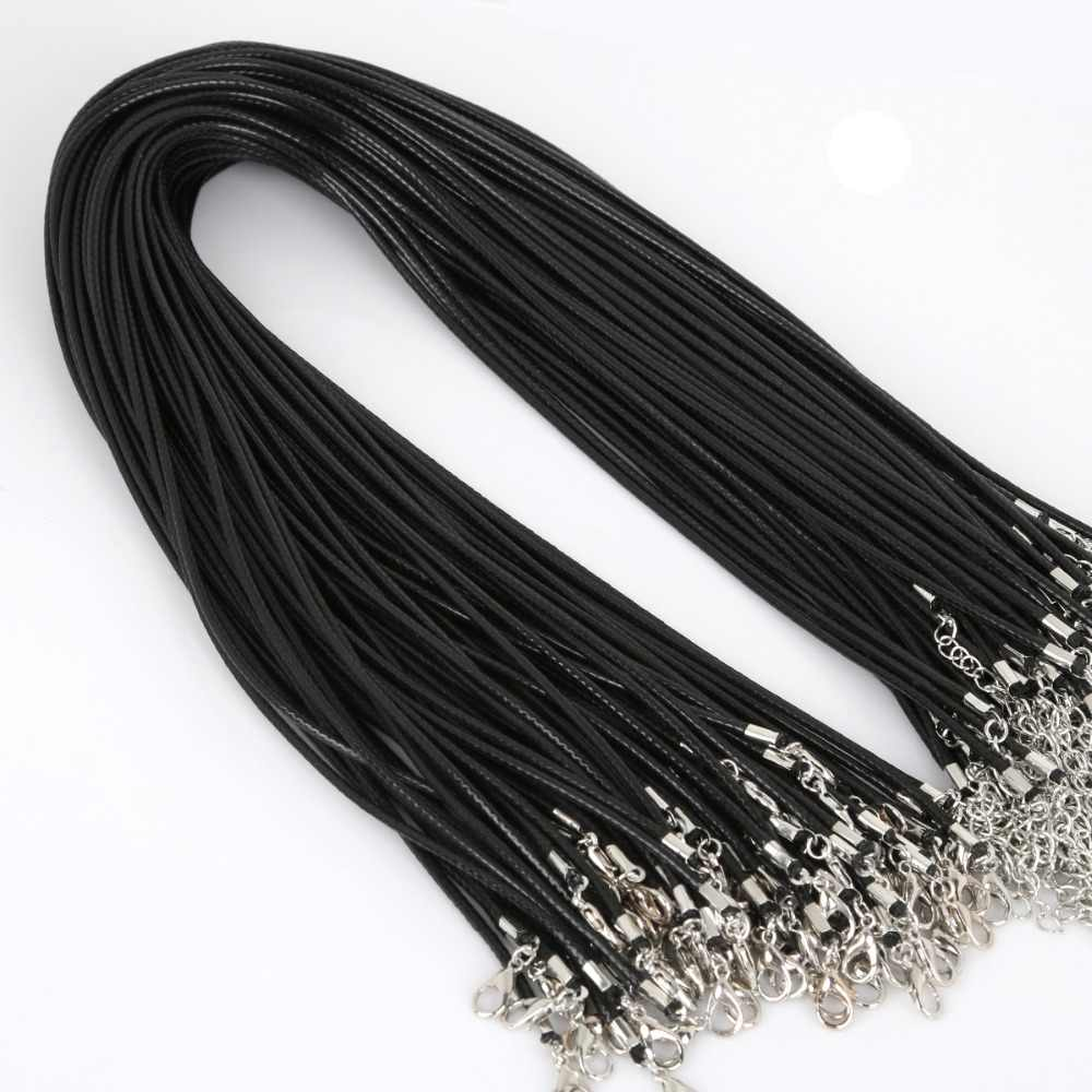 60pcs Wholesale Black Faux Leather Wax Rope Cord Necklace Chain DIY String Strap Rope Lobster Clasp Leather Jewelry Chains 2mm