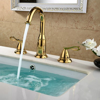 Bathroom Widespread Basin Faucets Brass Golden Sink Faucets 3 Hole Double Handle Hot And Cold Deck Mounted Water Tap Torneira