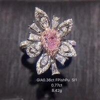 Ani 18 К из белого золота (au750) для женщин обручальное кольцо сертифицированные Si 1.13 ct романтические фантазии розовато-фиолетовый цветок Форма ...