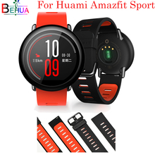 цены 22mm For Xiaomi Huami Amazfit Sport watch strap Replacement Silicone Wrist Strap band for Xiaomi Huami Amazfit Sport Smart band