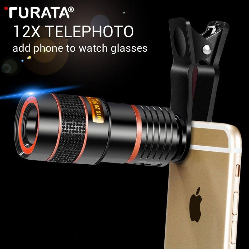 Turata Universale 12X Ottico 8X Zoom Mobile Phone Telescope Lens Esterno Smartphone Camera Lens Clip Per iphone Samsung Huawei