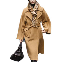 PLUS SZIE 2XL women wool autumn winter fashion woolen coat blends solid belt LOOSE