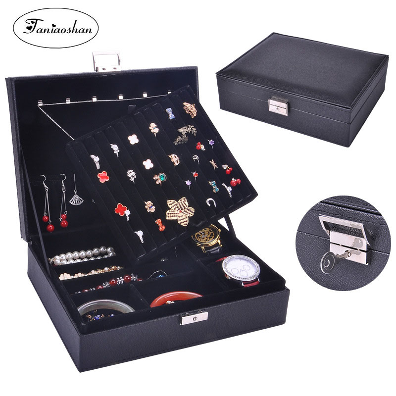 Practical Leather Jewelry Casket  Elegant Necklace Bracelet Ring Storage Cases 2 Layers Jewelry Box Portable Carring CasePractical Leather Jewelry Casket  Elegant Necklace Bracelet Ring Storage Cases 2 Layers Jewelry Box Portable Carring Case