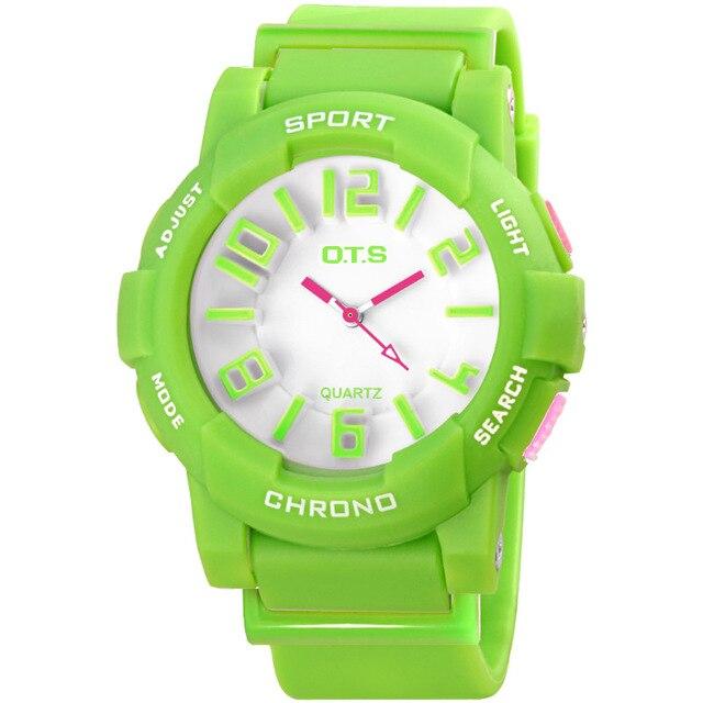 OTS Children Watch Candy Quartz watches Silicone Clock Waterproof Sports Kids for girl dress boy student