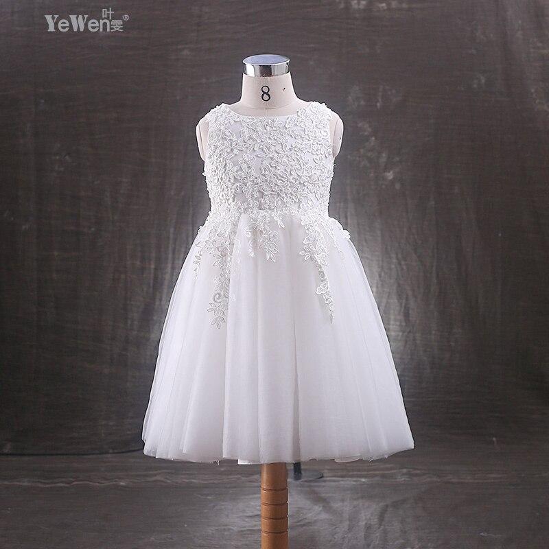 Yewen Ankle-Length Ivory Bow Child flower girl dresses for weddings kids prom dresses Children Dress Baby clothing