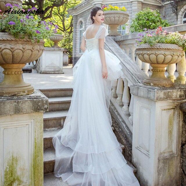 18 White Wedding Dresses Lace Up Back With Train Appliques Lace Royal Brida Robe de Marriage Wedding Gowns Elegant Plus Size