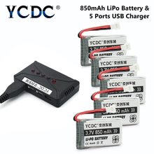 Drone Batteries 3.7V 850mAh Li-Po Battery For Syma X5C X5SC X5SW X5C-1 X5SC-1 Cx-30 Cx-31 Quadcopter + Charger f cloud for syma x5 x5c x5c 1 quadcopter spare parts crash pack kit replacement x5c propeller 600mah battery 720mm motor