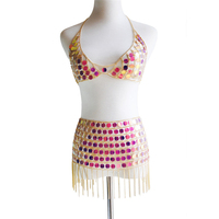 Dazzling Holographic Acrylic Sequins Tank Top Golden Chain Tassel Mini Skirts 2 Two Piece Sets Sexy Women Festival Rave Outfits