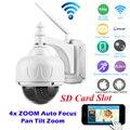 HD 720 P Inalámbrica WiFi IP PTZ Cámara 2.8-12mm 4 XZoom enfoque Automático IR-CUT Onvif Inicio vigilancia de Seguridad CCTV Cámara 32 GB Tarjeta SD