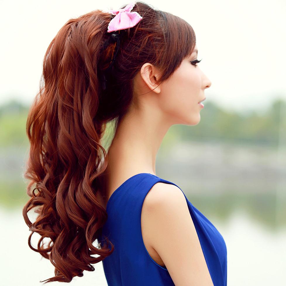 Awe Inspiring Aliexpress Com Buy 58Cm Long Curly Ponytail Straps Fake Ponytail Short Hairstyles Gunalazisus