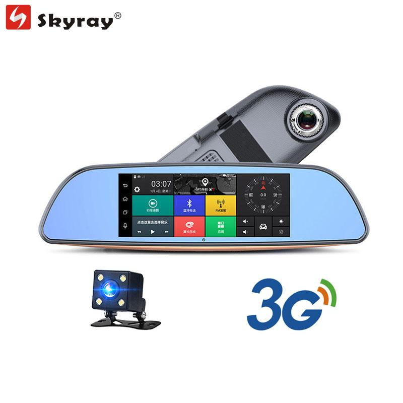 7 IPS Touch Screen 3G Rearview Mirror Camera GPS Navigation FHD 1080P Dual Lens Car DVR Bluetooth WIFI FM Android 5.0 Camcorder