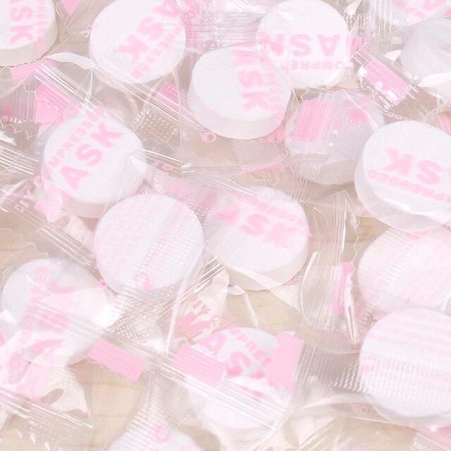 50 pz/pacco Compresso Facciale Maschera Maschera FAI DA TE delle Donne Usa E Getta di Carta Naturale Faccia Strumento di Cura Della Pelle Maschera Cotone maschera