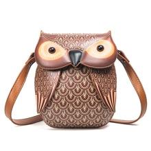 Милые животные сумки через плечо мини для женщин сумка мультфильм кожа сумки в виде совы Творческий Pu кошелек обувь для девочек уникальный QF