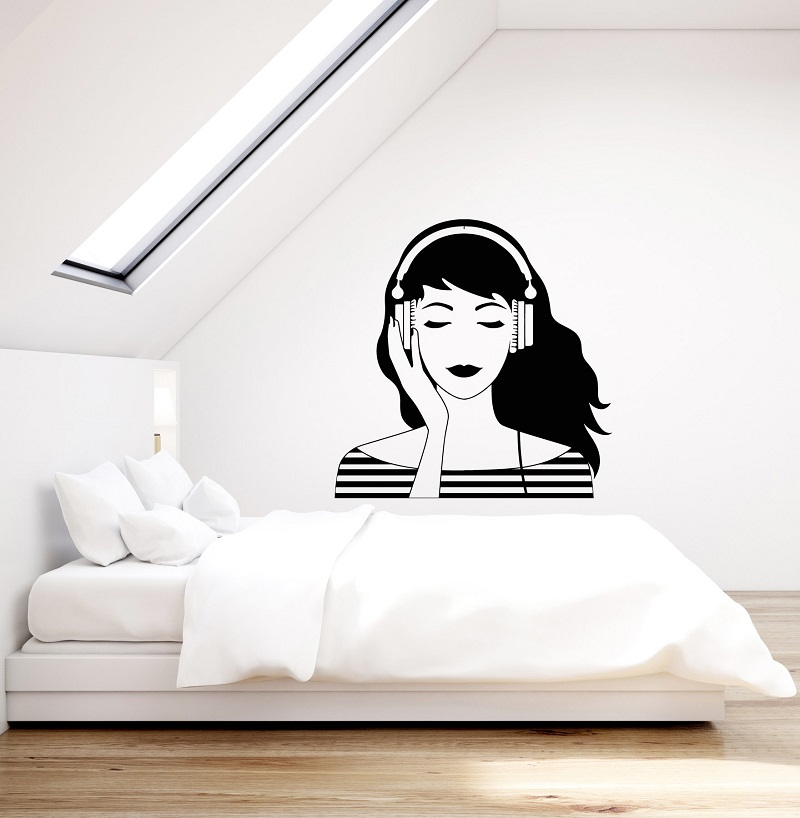 Vinyl wall applique music lovers music headphones pure girl youth hostel poster home art design decoration 2YY15-in Wall Stickers from Home & Garden
