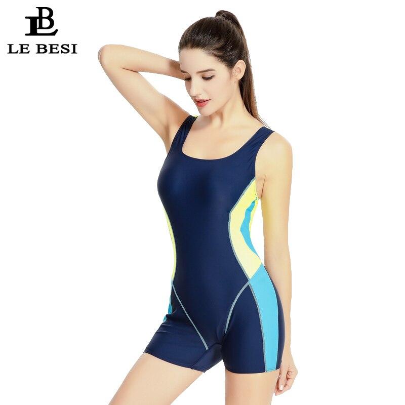 ФОТО LE BESI 2017 Women's Professional One Piece Swimsuit Sportswear Boxer Short Pants Bathing Suit M-XXL Backless Swimwear Bodysuit