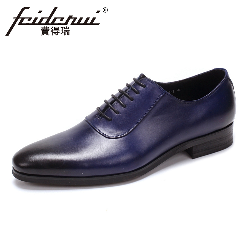 Fashion Genuine Leather Wedding Footwear Designer Handmade Men's Party Oxfords Round Toe Man Formal Dress Office Shoes YMX501