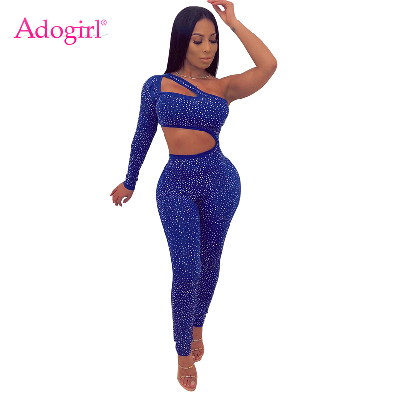 Adogirl Diamonds One Shoulder Cutout Bandage   Jumpsuit   Women Sexy Long Sleeve Skinny Romper Night Club Party Outfits Bodysuit