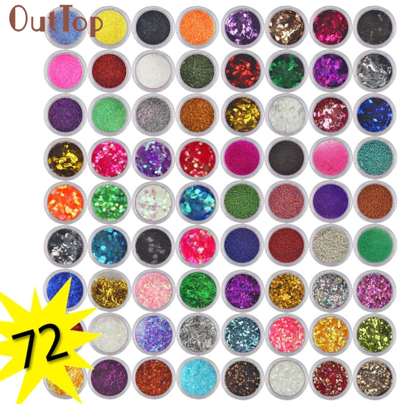 OutTop Pretty New Fashion 72 Colors Gel varnish Spangle Glitter Nail Art Paillette Acrylic UV Powder Polish Tips Set