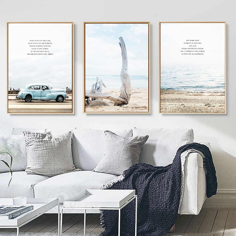 Nordic Poster Art Canvas Art Pictures Painting Wall Picture Printed On Canvas Decorative Beautiful scenery Car On Sand Of Sea