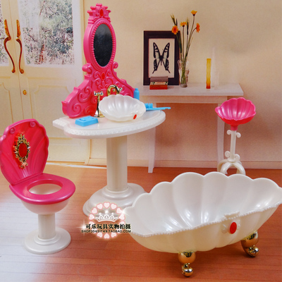 fashion Furniture bathroom Play Set Bathtub + Dresser+ toilet suite case for barbie Doll 1/6 new arrival christmas gift play house for children bathroom set furniture for barbie doll
