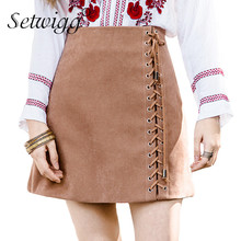 SETWIGG Spring Velvet A-line Lace-up Mini  Skirts High Waist Zipper Side Draw String Faux Suede Short Skirts Autumn Skirts