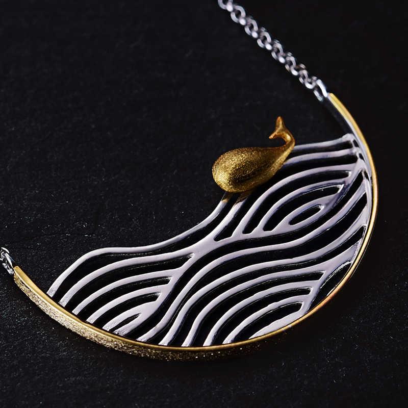 Lotus Vui Thật Nữ Bạc 925 Handmade Thiết Kế Mỹ Trang Sức Sáng Tạo Cá Bơi Vòng Đeo Cổ Cho Nữ Acessorio Collier