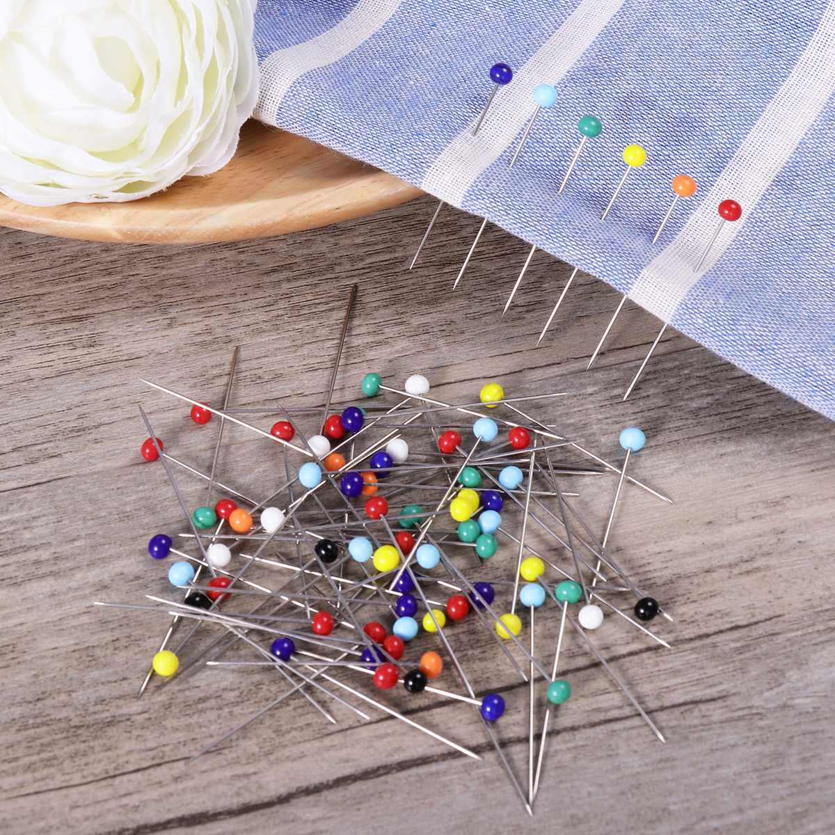 250pcs glass head pins multicolor sewing pin for diy sewing crafts  4mm head   34mm pin