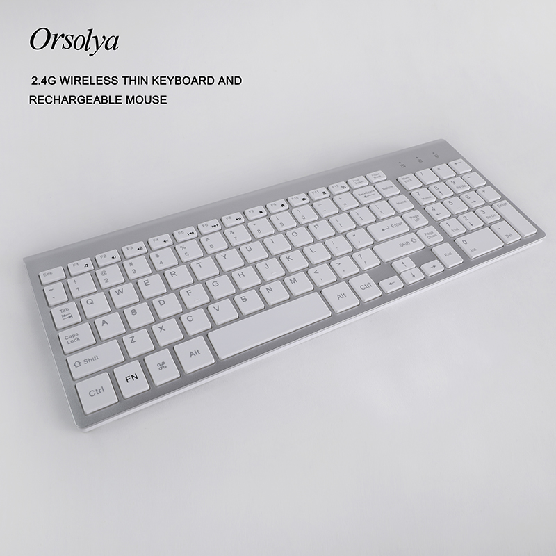 Image 2 - 2.4G Wireless Thin Keyboard and Rechargeable Mouse Combo English/Russian letters Keyboard set Silent key For Computer laptop PCKeyboard Mouse Combos   - AliExpress
