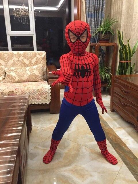 Rojo azul Spider-Man disfraces para niños adultos Superhero lycra Spiderman  patrón zentai traje de Halloween c68625b33248