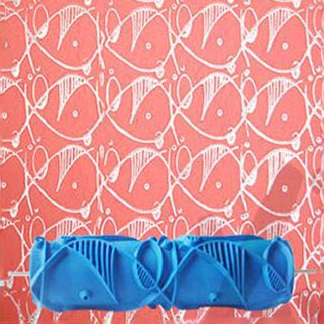 7inch 3d Wallpaper Tools Rubber Wall Mural Brush Roll Decorative Paint  Roller, Fish Patterned Roller