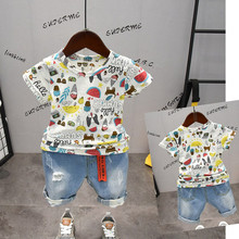 2019 Baby Boys Girls Summer Clothes Set Cartoon Printed Fruit Short Sleeve T-shirt + Pants Suit for Toddler Kids Clothing 2-6T цена