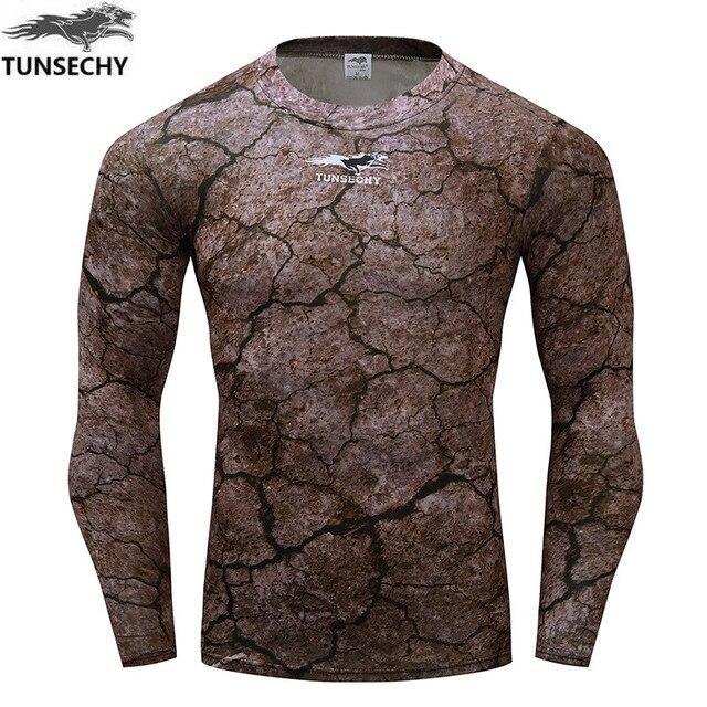 093405af8 Fitness T shirt męska koszulka kompresyjna z długim rękawem mocno koszulki  koszule szybkie suche ubrania do