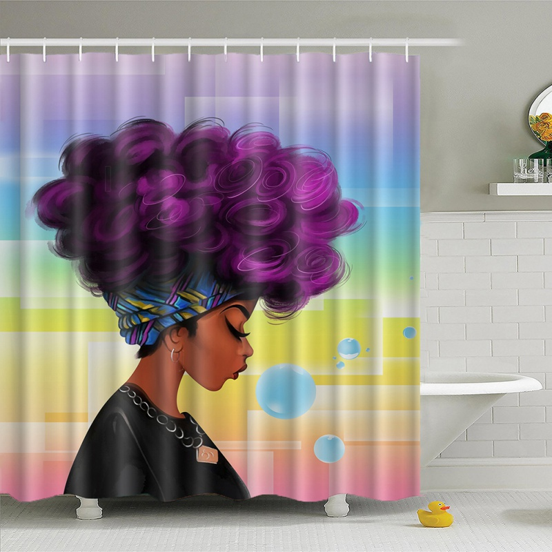 Waterproof Bathroom African Woman Shower Curtain Polyester Fabric In Curtains From Home Garden On Aliexpress