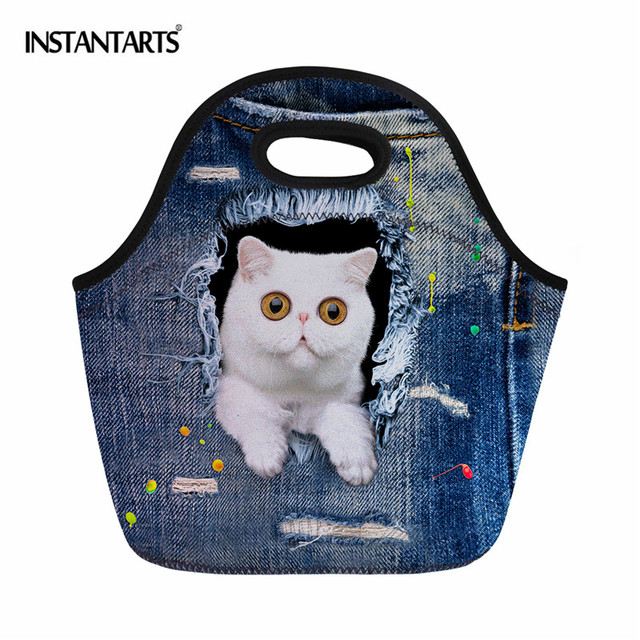 INSTANTARTS Blue Denim Cat Printing Thermal Insulation Picnic Bags Neoprene Lunch Tote Food Bags Campking Hiking Tote Handbags