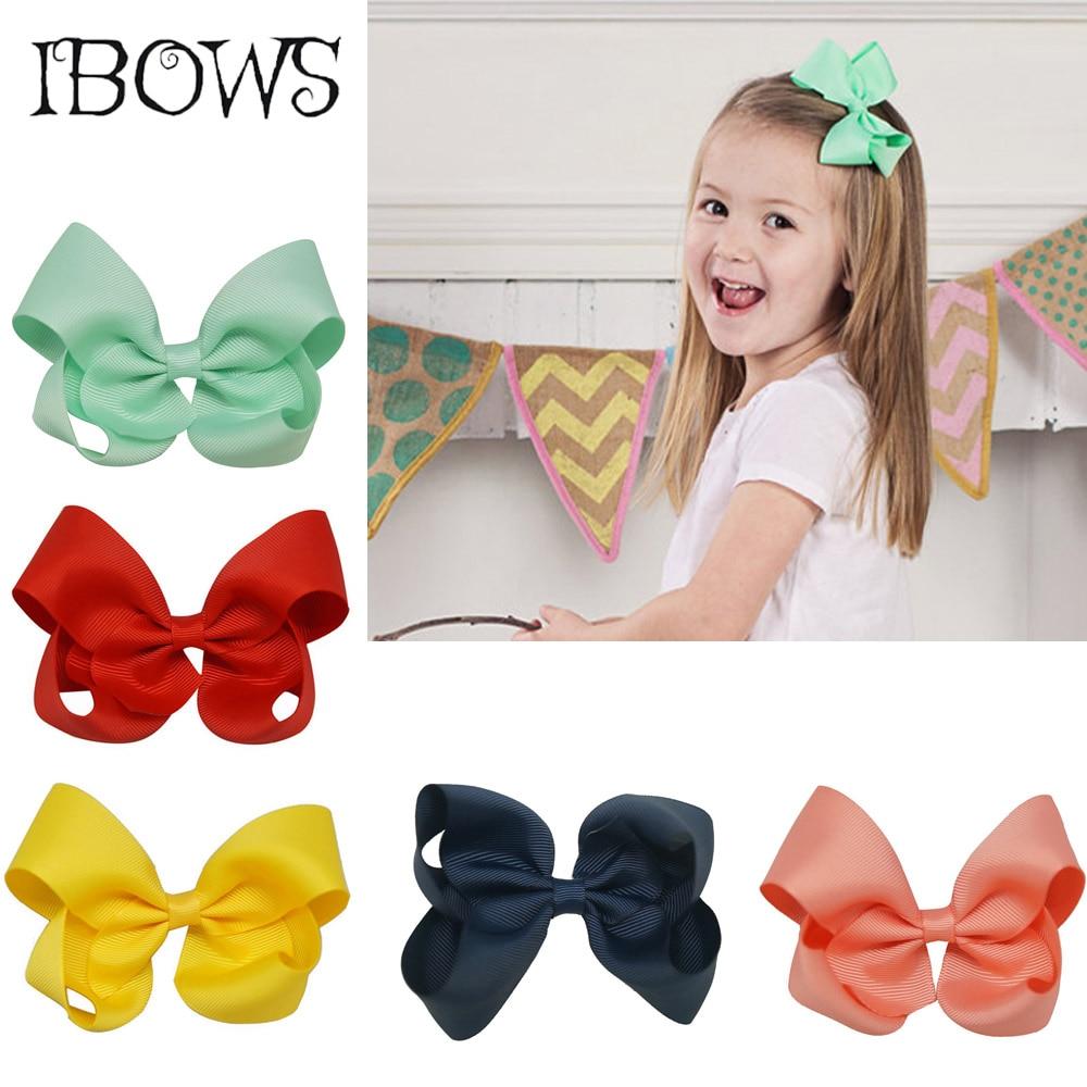 2Pcs/Lot Sweet 4'' Solid Hair Bows Grosgrain Ribbon With Alligator Clip Hairpins For Kid Girls Hair Clip Hair Accessories
