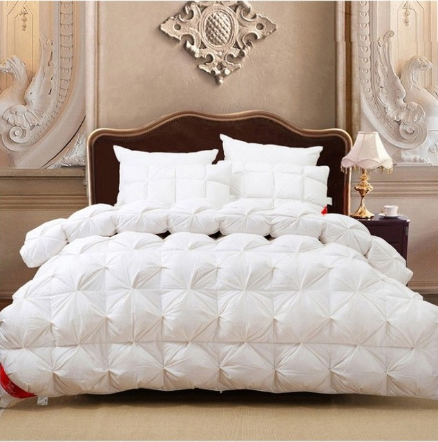 Goose Down Comforter White Pink Satin Winter Comforters Quit Doona Duvet  King Size Queen Full Twin