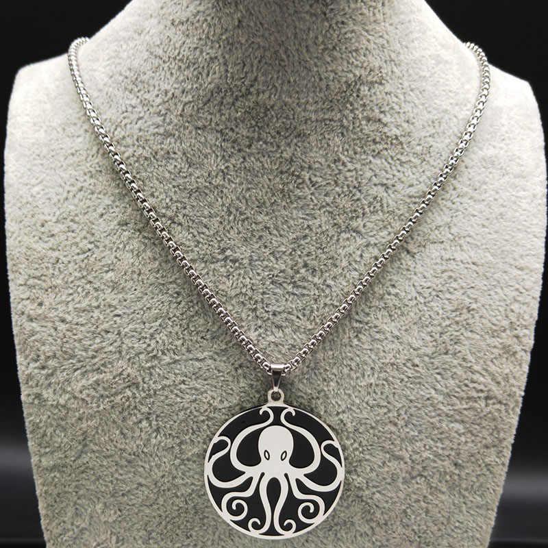 2020 Putaran Stainless Steel Kalung Pria Silver Warna Hitam Gurita Rantai Kalung Perhiasan Corrente Masculina B18201