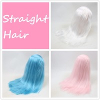 for blyth doll icy wig only rbl scalp and dome straight hair white pale pink and blue