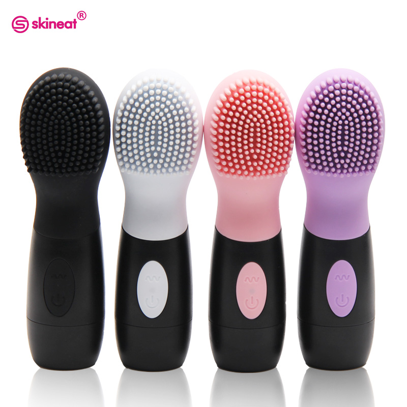 Skineat Silicone Facial Cleansing Brush Electric Face Cleanser  Pore Oil Clean Vibration Massager For Skin Care Body Massage sonic cleansing brush cleanser wash your face wash your face massage instrument deep pores clean cleanser electric wash brush