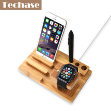 Techase Bamboo Phone Holder Magnetic Holders For iWatch Charge Telefon Mobile Holder Phone Accessories Wooden Design Phone Stand