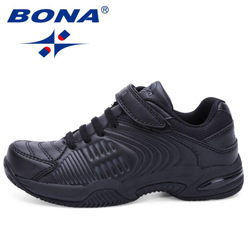 BONA Novo Estilo Popular Crianças Casual Shoes Hook & Loop Sapatos Meninos Meninas Sapatilhas Sapatos Preto Branco Macio Transporte Rápido Livre grátis