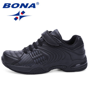 BONA New Popular Style Children Casual Shoes Hook & Loop Boys Shoes Black White Girls Sneakers Shoes Soft Fast Free Shipping