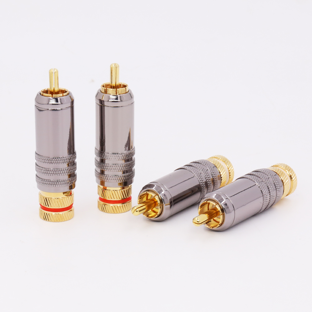 8pcs Hi-End 24K Gold Plated  Copper RCA Plug Durable RCA Connector Screws Soldering Locking Audio Video WBT Plug