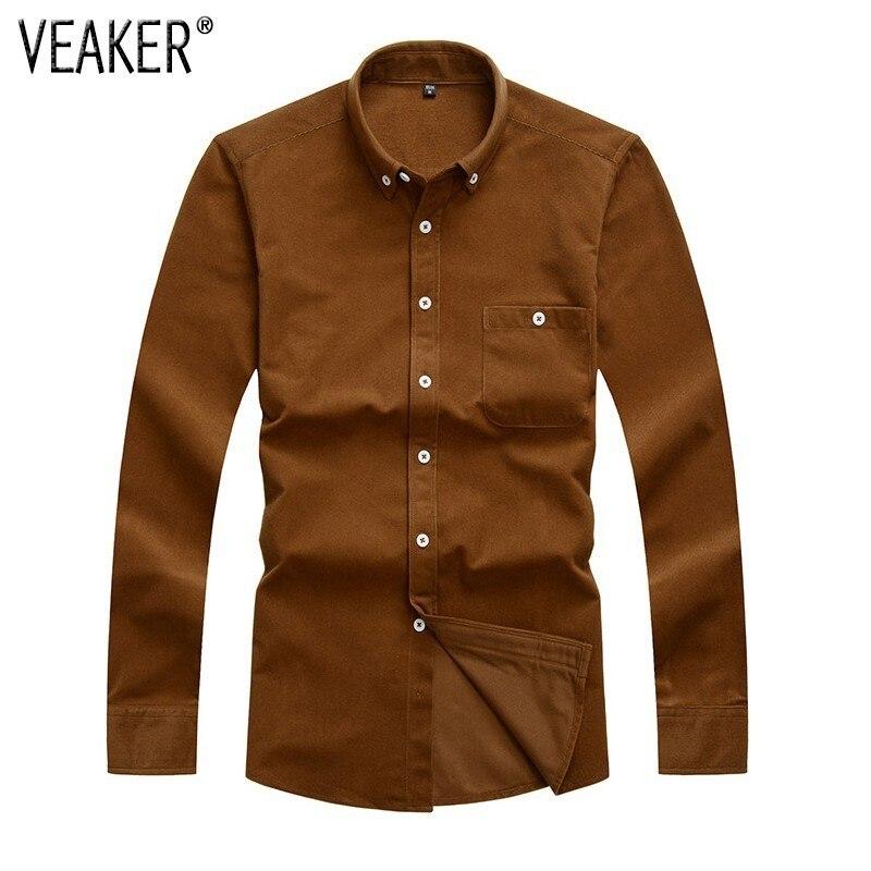 2108 New Men's Autumn Corduroy Shirts Male Long Sleeves Slim Fit Corduroy Shirt Solid Color Men Casual Shirt Plus Size M-5XL