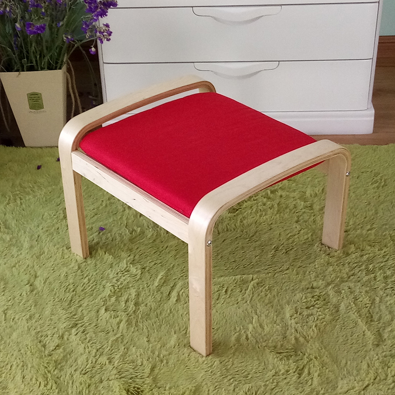 Comfortable Wooden Stool Ottoman Footstool With Cushion Living Room