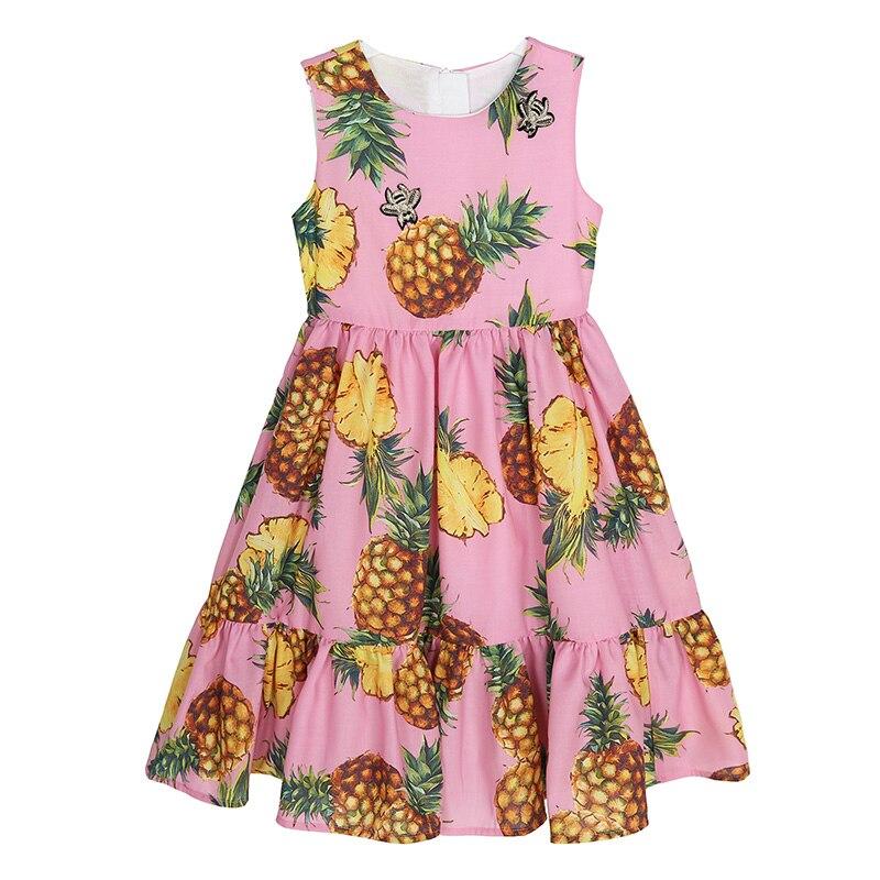 ФОТО Girls Summer Dress Kids Girl Princess Dress Brand Designer Costume Birthday Pink Cotton Pineapple Fruit Party Painted Dress 3-12